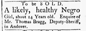 Aug 21 1770 - Essex Gazette Slavery 1