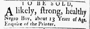 Aug 21 1770 - Essex Gazette Slavery 2