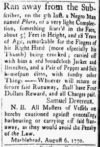 Aug 21 1770 - Essex Gazette Slavery 3