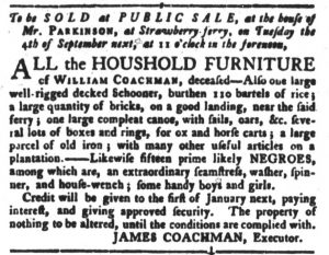 Aug 21 1770 - South-Carolina Gazette and Country Journal Slavery 1