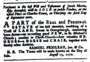 Aug 21 1770 - South-Carolina Gazette and Country Journal Slavery 6
