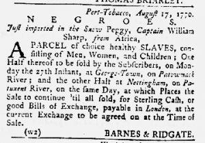 Aug 23 1770 - Maryland Gazette Slavery 1