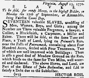 Aug 23 1770 - Maryland Gazette Slavery 2