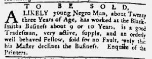 Aug 23 1770 - Maryland Gazette Slavery 4