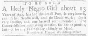 Aug 23 1770 - Massachusetts Gazette and Boston Weekly News-Letter Slavery 1
