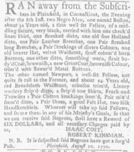 Aug 23 1770 - Massachusetts Gazette and Boston Weekly News-Letter Slavery 2