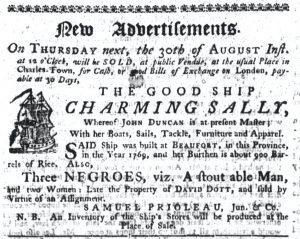 Aug 23 1770 - South-Carolina Gazette Continuation Slavery 1