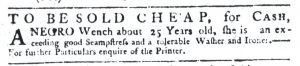 Aug 23 1770 - South-Carolina Gazette Slavery 1