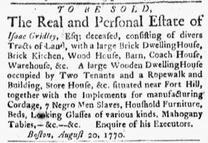 Aug 27 1770 - Boston Evening-Post Slavery 1