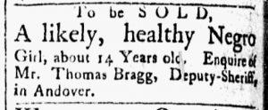 Aug 28 1770 - Essex Gazette Slavery 1
