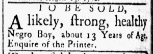 Aug 28 1770 - Essex Gazette Slavery 2