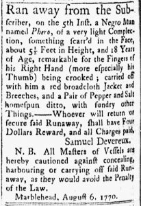 Aug 28 1770 - Essex Gazette Slavery 3