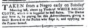 Aug 28 1770 - South-Carolina Gazette and Country Journal Slavery 4