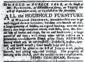 Aug 28 1770 - South-Carolina Gazette and Country Journal Slavery 5