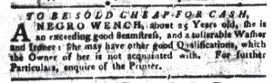 Aug 28 1770 - South-Carolina Gazette and Country Journal Slavery 6