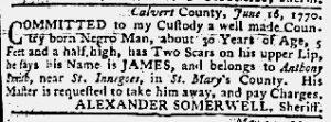 Jun 21 1770 - Maryland Gazette Slavery 2