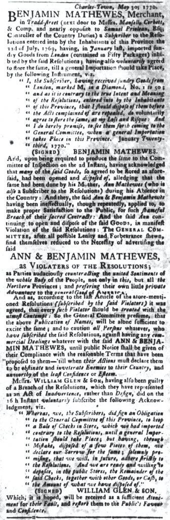 Jun 5 - 6:5:1770 South-Carolina Gazette and Country Journal