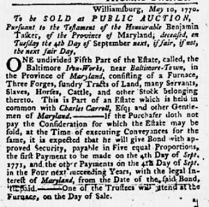 Jul 12 1770 - Maryland Gazette Slavery 3