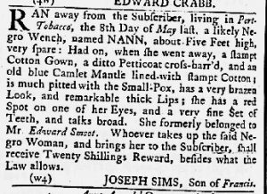 Jul 12 1770 - Maryland Gazette Slavery 6