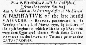 Jul 16 - 7:16:1770 Boston Evening-Post
