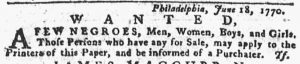 Jul 19 1770 - Pennsylvania Gazette Slavery 4