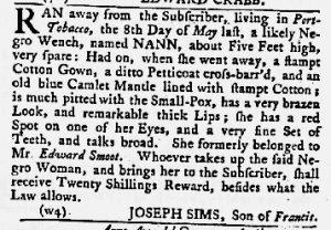 Jul 5 1770 - Maryland Gazette Slavery 1