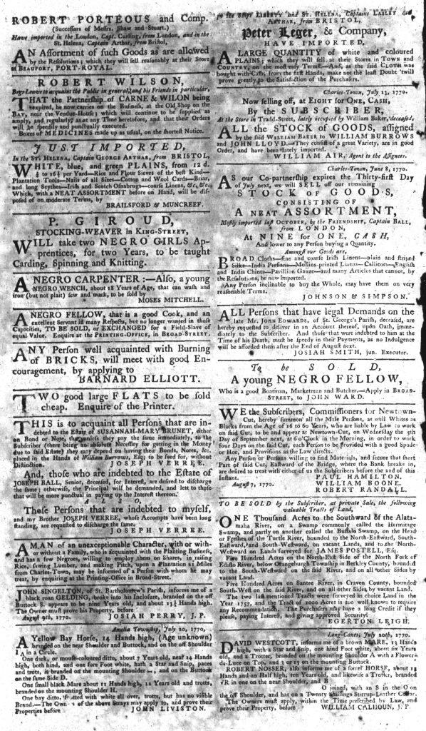 Aug 20 1770 - South-Carolina Gazette Supplement Page 2